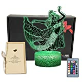 TriPro Mermaid 3D Illusion LED Room Table Decor Lamp Sea-Maid Night Light with 16 Colors Change,Touch&Remote Bedroom Decorations Toys Gifts for Girls,Men,Women, Kids, Boys,Teens 3