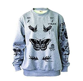 Noonew Women s Butterfly Tattoos Sweatshirt Large Grey