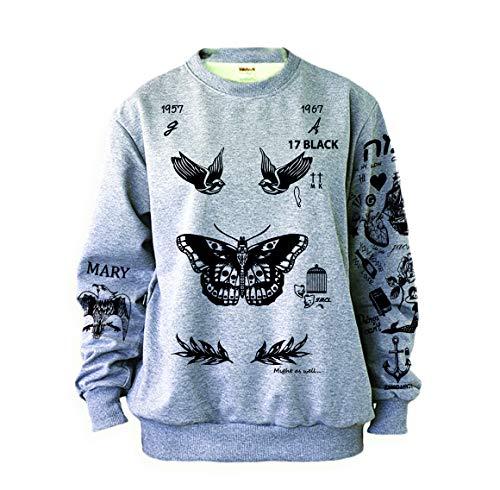 Noonew Damen Schmetterling Tattoos Sweatshirt Grau - Grau - X-Large