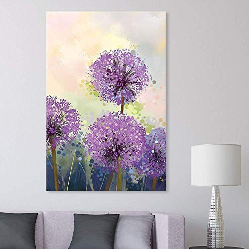 wall26 Canvas Wall Art - Watercolor Style Purple Flowers - Giclee Print Gallery Wrap Modern Home Decor Ready to Hang - 16x24 inches