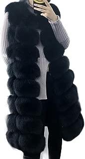 Women's Real Cape Fox Fur Vest Sleeveless Long Coat Fluffy Waistcoat Outwear Jacket