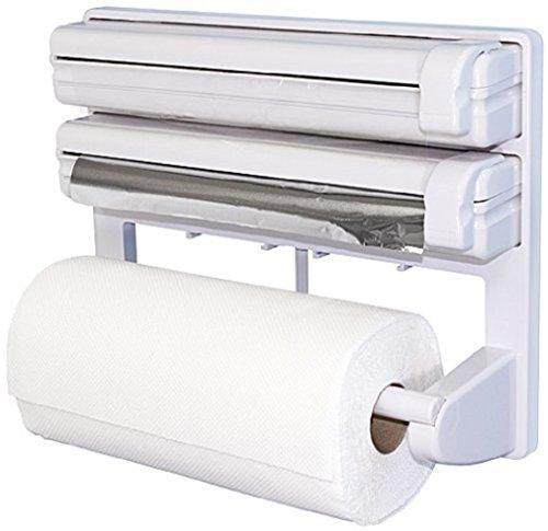 Triple distributeur de papier pour film Etirable Alimentaire en feuille d'aluminium de cuisine support pour rouleaux de papier