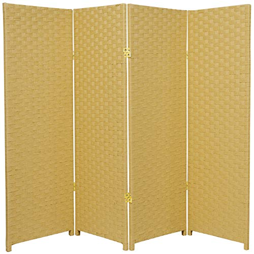 ORIENTAL FURNITURE Small Size 4 Panel Room Divider, 4-Feet Rattan Like...
