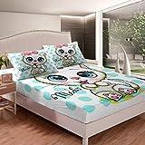 Loussiesd Juego de sábanas para gatos con estampado de gatitos para niños, niños, dibujos animados, animales, juego de sábanas de cama con diseño de lunares, color verde azulado
