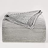 BEDELITE Fleece Throw Blankets Twin Size for Couch & Bed, Luxury Striped Black and White Decorative Throw Blankets - Plush, Fluffy, Fuzzy, Cozy - Super Soft & Lightweight Throw Blankets for Fall