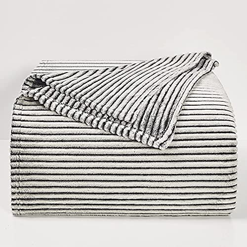 BEDELITE Fleece Throw Blankets Twin Size for Couch & Bed, Black and White Blankets Striped - Plush, Fluffy, Fuzzy, Cozy - Super Soft & Warm Spring Throw Blanket