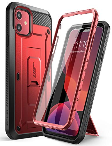 SUPCASE Einhorn Beetle Pro Series Schutzhülle für iPhone 11 15,1 Zoll (2019 Release), integrierter Displayschutz, robuster Halfter, MetallicRed