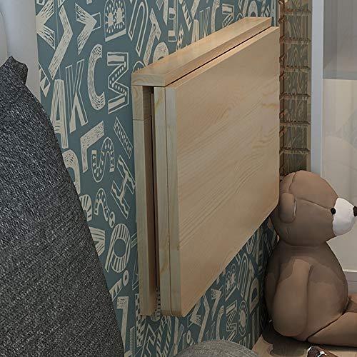YUDIAN Mesa de Pared Mesa de Trabajo Plegable Montada Cocina Mesa de Comedor de Madera Maciz para Estudio,Dormitorio,Baño o Balcón,60/70/80/100CM