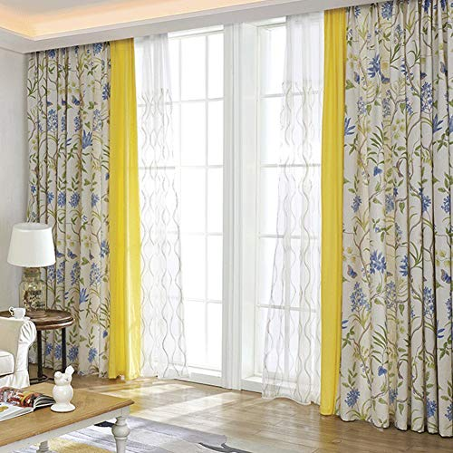 ZYY-Home curtain Cortinas Flores Plantas Impresiones Cortinas Opacas con Ojales Moderno Cortina para Salón Habitación Y Dormitorio 2 Piezas,W120xL140cm