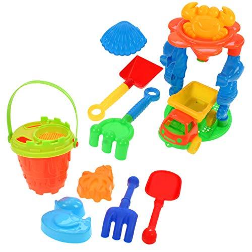 HAC24 12tlg. Sandspielzeug Set Sandkasten Spielzeug Strandspielzeug Eimer LKW Formen Schaufel Sand Strand Eimergarnitur