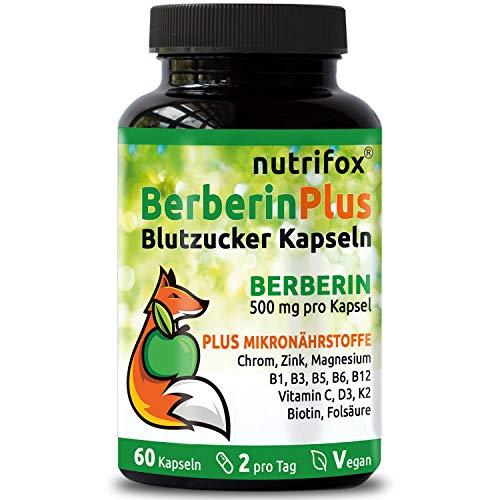 Berberin 500 mg Plus Multivitamine & Mineralstoffe (z.B. Chrom, Zink, Magnesium, B-Komplex, Vitamin C, Vitamin D, K2, Biotin) 60 Blutzucker Kapseln, vegan, ohne Magnesiumstearat, aus Deutschland