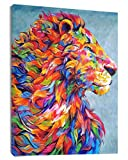 LB Framed Colorful Lion Canvas Wall Art African Wild Animal Abstract Canvas Print Wall Poster Living Room Bedroom Bathroom Home Decor Ready to Hang,12x16 inch