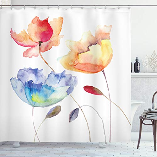 Ambesonne Watercolor Flower Shower Curtain, Summer Flowers in Retro Style Painting Effect Nature is Art, Cloth Fabric Bathroom Decor Set with Hooks, 84' Long Extra, Orange Blue Red