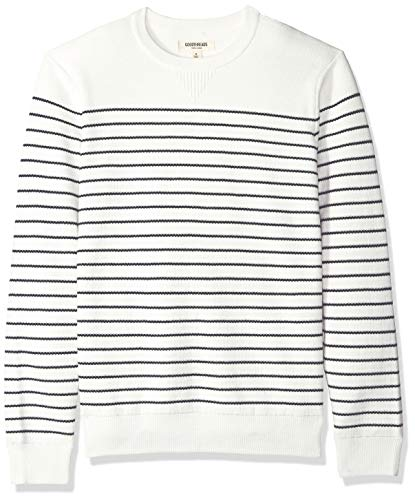 Goodthreads Men's Soft Cotton Multi-Color Striped Crewneck Sweater, White/Navy, X-Large