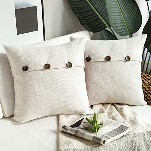 Phantoscope Farmhouse Throw Pillow Covers Triple Button Vintage Linen Decorative Pillow Cases for Couch Bed and Chair Off White, 24 x 24 inches 60 x 60 cm, Pack of 2