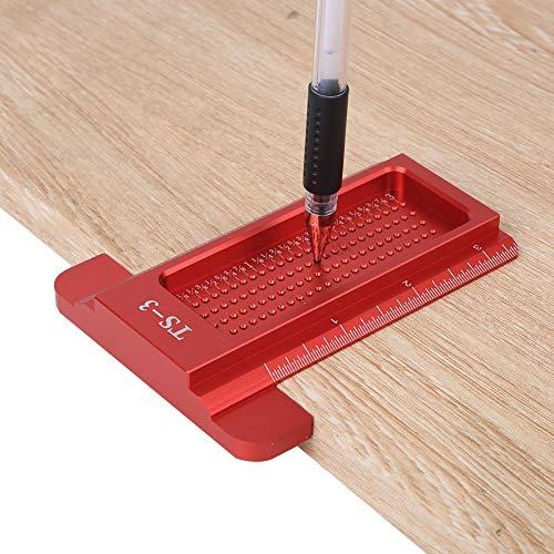 Escala precisa Tipo T Regla de agujero Calibre de trazador Carpintería Mini calibre de línea Herramienta de medición Marcado Regla T para posicionamiento(red)