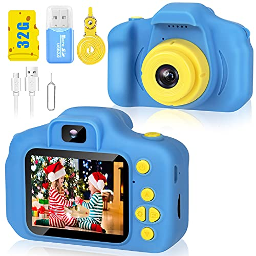 Desuccus Kids Camera Video Digital Camera for Kids Birthday Gifts for Boys and Girls Kids Toys 3-8 Year Old Toddler Video Record Camera 5 Puzzle Games 32GB SD Card (Blue)