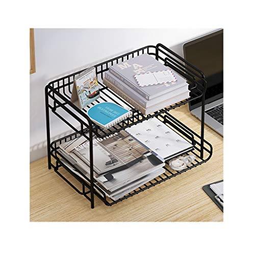 Organizador de Escritorio Iron Desktop Bookshelf Desk Organizer con 2 bandejas Mesh Desktop Magazine File Holder Rack de Almacenamiento para la decoración del hogar de la Oficina Estantería