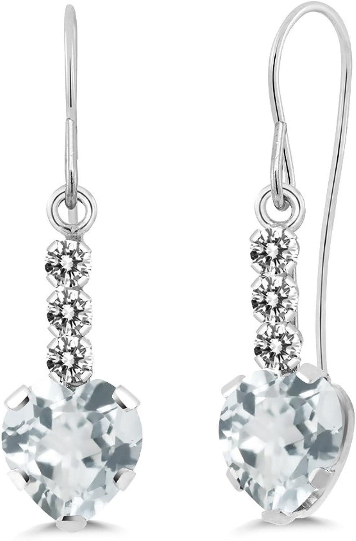 1.54 Ct Heart Shape Sky bluee Aquamarine White Diamond 14K White gold Earrings