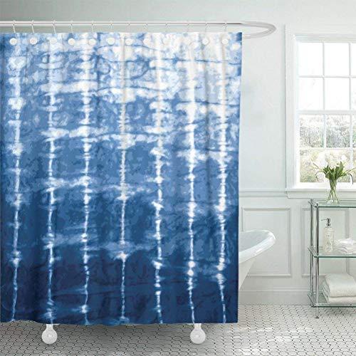 Stoff Duschvorhang mit Haken Aquarell Shibori Indigo Blue Tie Dye Design Navy Batik gefärbte Farbe traditionellen Wasser-120cm * 180cm