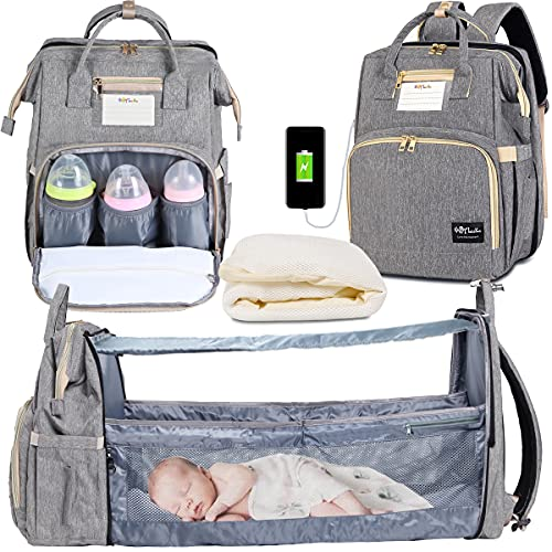 3 in 1 Diaper Bag Backpack Organizer, Portable Mummy Bag Include Insulated Pocket, Multi-Functional Baby Backpack Organizer with Diapers Changing Station for Essential Items Grey