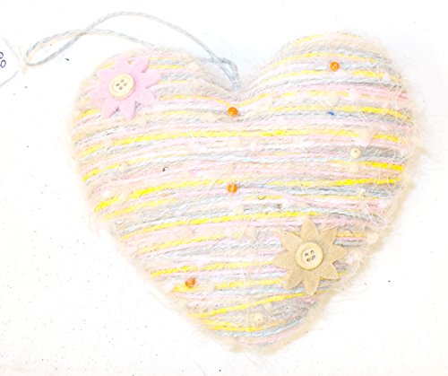 Gordmans Pink Yellow Blue Tan Yarn Heart Girls Room Home Decor 6in NIP