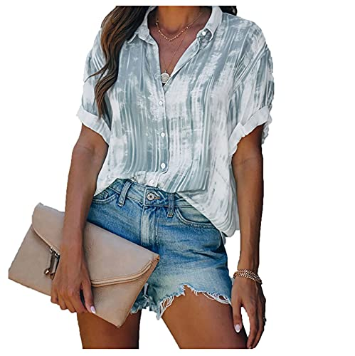 Wsgyj52hua 2021 Primavera Y Verano Nueva Camiseta De Gasa con Botones Estampados para Mujeres Europeas Y Americanas