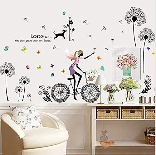 Dandelion Girl Fashion Creative Girl Dormitorio Sala De Estar Decorado Papel Pintado Adhesivos De Pared Para Niñas Habitaciones Decoración Para El Hogar