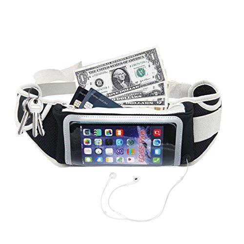 Cintura Sportiva Running Belt ,Regolabile e Impermeabile con Tasche a Cerniera e Borsa a Tracolla per Cuffie, Paio di vita...