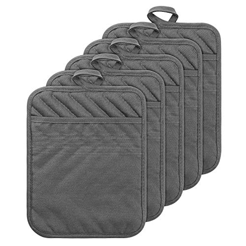 GROBRO7 5Pack Pocket Pot Holders Cotton Heat Resistant Potholder Multipurpose Hot Pads Machine Washable Oven Mitts Terry Cloth Potholders Bulk for Daily Kitchen Baking and Cooking 8.9 x 6.9 Inch Grey