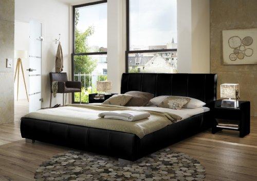 SAM® Latina Polsterbett in schwarz, Bett mit gepolstertem Kopfteil im abgestepptem Design und pflegeleichter Oberfläche, stilvolle Chromfüße, Bettgestell auch als Wasserbett verwendbar, 180 x 200 cm