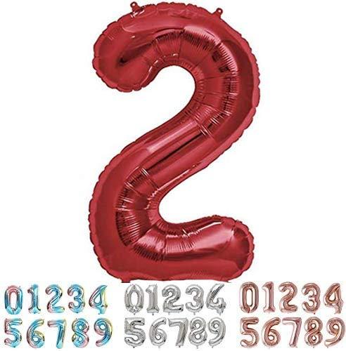 PARTY Globo Número 2 Dos Gigante en Color Rojo - Número Grande en Color Rojo Metalizado - Fiesta de cumpleaños y Aniversarios - Gigante 105 cm - Hinchable - Tamaño XXL (2-Rojo)