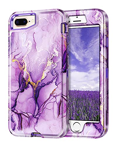 Lamcase Compatible with iPhone 8 Plus/iPhone 7 Plus/iPhone 6 Plus Case (5.5 Inch), Heavy Duty Full Body Shockproof Hybrid Hard PC Soft TPU Rubber Three Layer Drop Protection Cover Case, Purple Marble