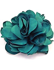 Rougecaramel – Fermaglio per capelli a forma di fiore, in tessuto, 7,5 cm, colore: verde turchese