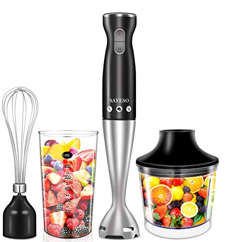 Hand Blender, (New Version) 4-in-1 Multifunctional Electric Immersion Blender with Ballon Whisk, 16oz Chopper Bowl and BPA-Free Beaker for Baby Food, Shakes, Smoothies, Sauces, Soup and More [FDA/ETL Approved]