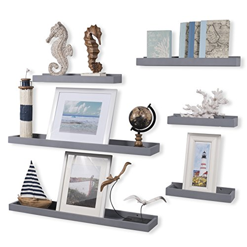 Wallniture Philly Set of 6 Varying Sizes Floating Shelves Trays Bookshelves and Display Bookcase – Modern Wood Shelving for Kids Room and Nursery – Wall Mounted Storage Bathroom Shelf (Gray)