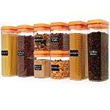 Shazo Airtight Container Set for Food Storage - 8 Pc Set - BPA Free Heavy Duty Plastic - Interchangeable Lids - Clear Plastic - Labels & Marker Included