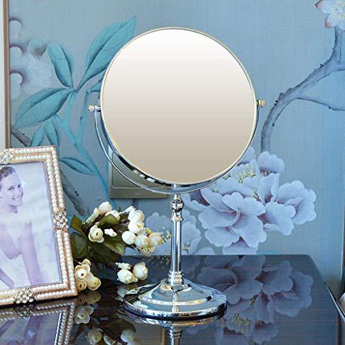 LULUTING Espejo de Maquillaje Europea Plata Brillante de Maquillaje Espejo de 8 Pulgadas Espejo Espejo de baño Espejo Portable Doble