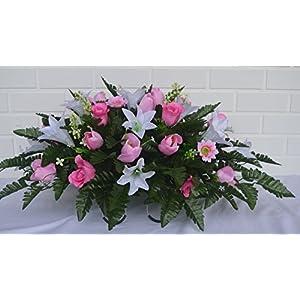 3116 Beautiful Spring Cemetery Arrangement , Headstone saddle, Grave, Tombstone arrangement, Cemetery flowers