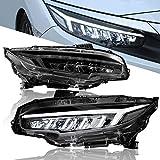 UXZEB LED DRL Montaje de Faros paraHonda Civic Type R FK7 FK8 sedan/hatchback 2016 2017 2018 2019 2020, Luz Delantera Señal de Giro Dinámica, Faro Plug and Play(LHD, 1 par) (Claro A)