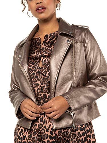 Studio Untold Damen Fake-Lederjacke glänzend Jacke, Grau (Grau 11), 48 (Herstellergröße: 46+)