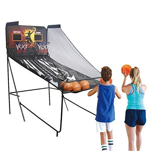 LXLA Juego de Baloncesto Arcade de Baloncesto Portátil para Adultos/Niños, Soporte de Aros de Tiro Electrónico Doble con Marcador y 5 Bolas, Juguete Plegable para Fiesta Familiar