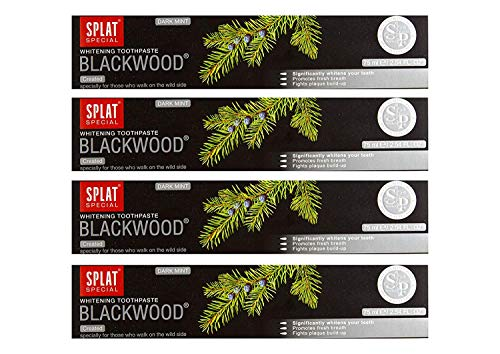 4x SPLAT BLACKWOOD fluoridfreie Kohle Zahnpasta blutstillend und entzündungshemmend