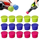 Tapas Vino Silicona Reutilizables, 15 Piezas Tapas Silicona Botellas Vino, Tapón Botella Silicona, Tapas Botellas Champán Silicona, Prueba Fugas, para Champagne, Cerveza, Vino, 3 Colores