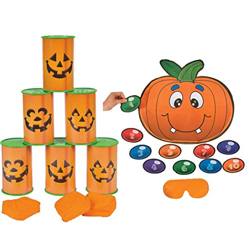 4E's Novelty Halloween Games for Kids Party | 2 Fun Games | Jack-O'-Lantern Can Toss Game | & Silly Pin The Nose on The Pumpkin - for Halloween Activities Supplies, Classroom Games