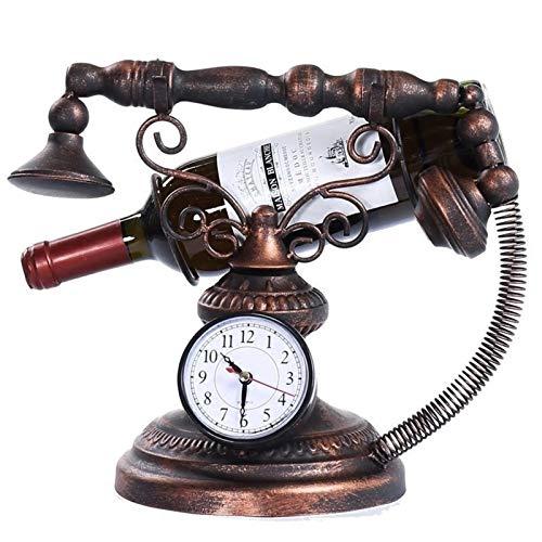 HYAN Portabotellas Reloj de teléfono Rack de Vino Adornos para decoración del hogar Tenedor de Vino al revés Botella de Vino Cork Mensaje de Almacenamiento Soporte Estantes de Vino