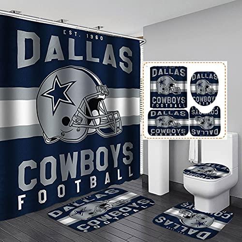SKAILIÉ 4PCS/Set White Navy Blue American Football Shower Curtain, Modern Texas Star Grey Rugby Athlete Helmet Cool Sports Bathroom Decor Gift for Men, Non-Slip Bathroom Floor Mat Toilet Rug, Helmet