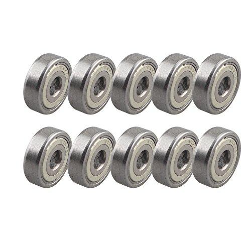 HALJIA 10 piezas 625ZZ miniatura rodamientos de bolas de metal blindados para impresora 3D coches camiones 5 mm x 16 mm x 5 mm accesorio