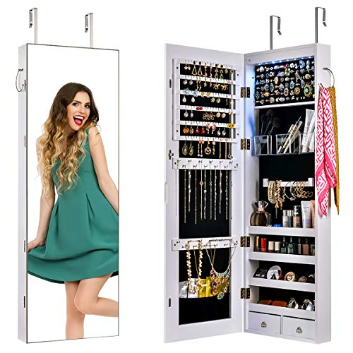 Mirror Jewelry Cabinet JewelryArmoireLockableJewelryChestJewelryCabinetWallDoorMountedwithLargeCapacityJewelryArmoireLengthMirrorLockableLargeJewelryOrganizer(White)