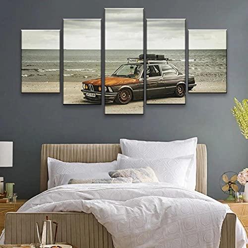 Quadro 5 Pezzi Stampa su Tela in TNT XXL BMW 323I E21 sulla Spiaggia 5 Pezzi Parete Immagini Arte su Tela 5 Dipinti su Tela Quadro su Tela Pittura Room Decor Poster Stampa Wall Art Regalo